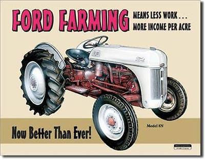 "Ford Motor Co Farmer Tractor Retro Old Time Tin Sign Wall Decor 16""x12"" USA Gift"