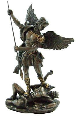 "St Michael Bronzed Resin Magnificent Saint Statue Artistic Home Decor 10""H Gift"