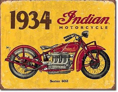 Antique Style Motorcycle Sign Indian Biker Garage Retro 1934 Ad Wall Decor 16""
