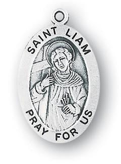 "St Liam 7/8"" Oval Sterling Silver Medal Saint Gift w Steel Chain Boxed"