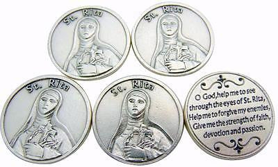 SET OF 5! St Rita Saint Prayer Token Silver Plated Coin Gift Lot from Italy
