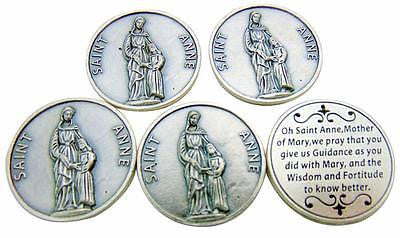 SET OF 5! St Anne Saint Prayer Token Silver Plated Coin Gift Lot from Italy