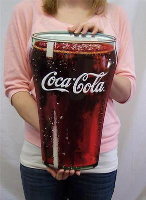 "Unique Gift Coca-Cola Coke Fountain Glass Die Cut 15"" Hanging Decor Tin Sign"