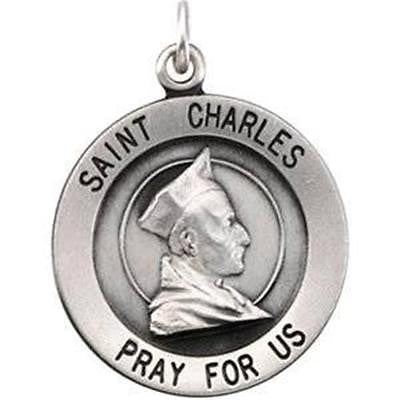 .925 Sterling Silver Round Saint St Charles Medal Gift w Chain Boxed 3/4""