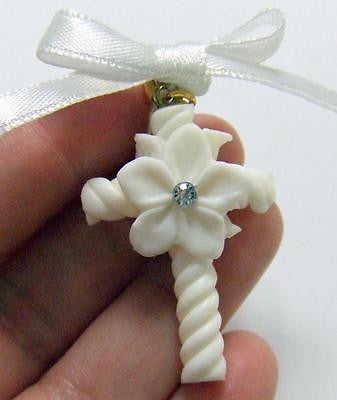 "Baptismal Gift for Godparent Childs Baptism Christian Clay Cross Pin 1.5"" L"