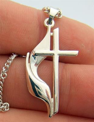 MRT United Methodist Cross Sterling SIlver Pendant Necklace Religious Medal 3/4""