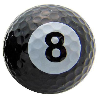 One Single 8 Eight Ball Pool Design Novelty Golf Ball Fun Gag Gift Golfer Dad