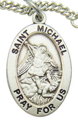 "MRT St Michael Sterling Silver Saint Protection Medal 3/4"" w Chain Boxed Gift"