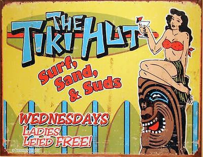 Vintage Style Hawaii Tropical Tiki Hut Bar Tin Sign Funny Wall Decor US Gift 16""