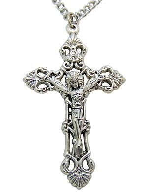 "Catholic Metal Crucifix Pendant 2"" L for Confirmation or Communion w/ Chain"