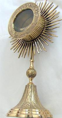 "MRT Large Heavy Brass Catholic Monstrance Reliquary Sacred Church Gift 14"" H"