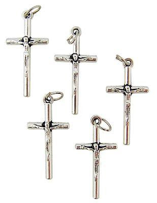 "5 Lot Crucifix Rosary Petite Post Cross Pendant Catholic Holy Gift 1"" Italy"
