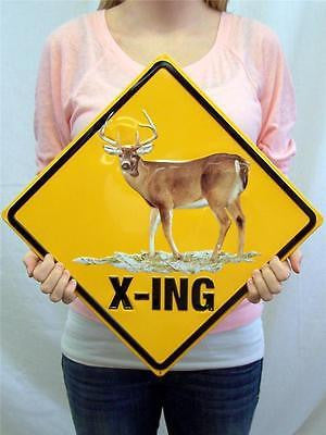 Unique Gift for Hunter Deer Xing Buck Crossing Yellow Hanging Decor Tin Sign 13""