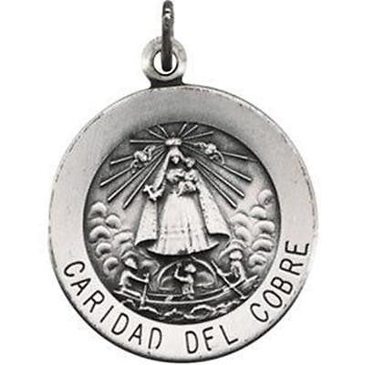 "MRT Sterling Silver Virgen Caridad del Cobre Cuba Medal 3/4"" w Chain Boxed Gift"