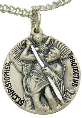 "MRT St Saint Christopher Sterling Silver Medal 1.25"" w 24"" Stainless Chain Boxed"