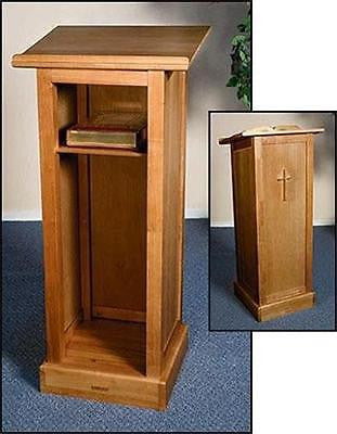 "Full Solid Wood Church Chapel Lectern Pulpit w Shelf Chruch Furniture 45"" H"