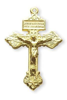 "MRT Gold Over Sterling Silver Pardon Crucifix 1-1/2"" L on 24"" Chain Gift Boxed"