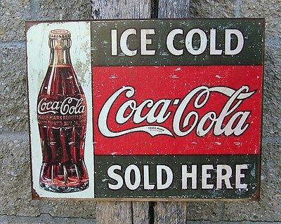 "Antique Style Coca Cola Sign Retro Ad Ice Cold Coke Home Decor Gift USA 16""x12"""