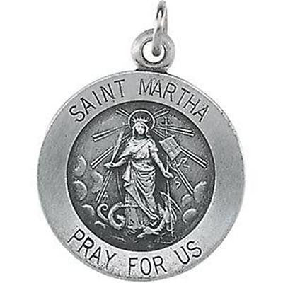 "MRT St Martha Sterling Silver Ladies Medal Patron Saint .65"" w Chain Boxed Gift"