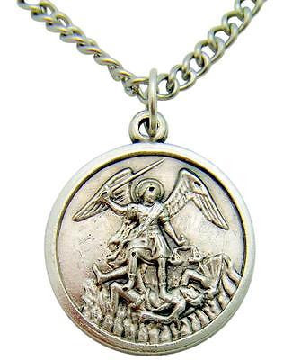 St Michael Oxidized Metal Saint Protection Medal Gift with Stainless Steel Chain