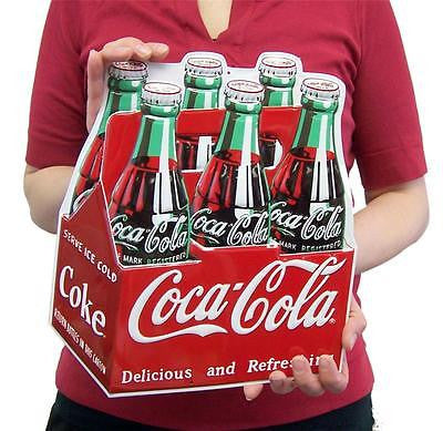 "Coca Cola Die Cut Six Pack Bottle RetroTin Sign Coke Home Wall Decor Gift 13""H"