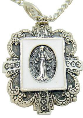"925 Solid Sterling Silver Miraculous Mary Medal Pendant 1"" w Chain Boxed Git"