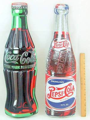"LOT OF 2 Tin Sign Pepsi & Coca Cola Coke 3D Die Cut Embossed Gift Set 21"" Bottle"