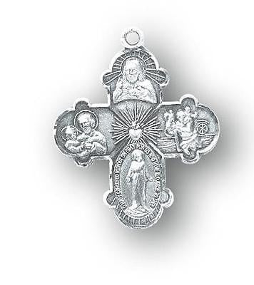 "MRT Sterling Silver Four Way Medal 4-Way Budded Cross 7/8"""" Boxed w  18"" Chain"