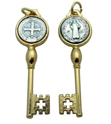 "St Benedict Pendant Key 1"" Medal Silver/Gold Tone Metal Catholic Gift from Italy"