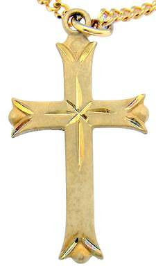 "14KT Gold over Solid Sterling Silver Cross 1 1/4"" Pendant w Chain Boxed Gift"