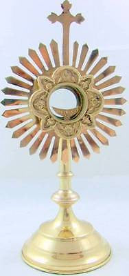 "Large Brass Cross Monstrance Catholic Church Altar Reliquary w Luna 30""x13"" Gift"