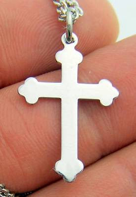 ".925 Sterling Silver Budded Cross 1"" w Chain Boxed Christian Gift"
