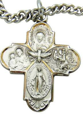 "MRT Sterling Silver Four Way Scapular Medal Cross Gift 1"" w S Steel Chain Boxd"