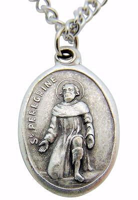 "St Peregrine Medal 3/4"" Silver Tone Metal Saint of Cancer Gift with Steel Chain"