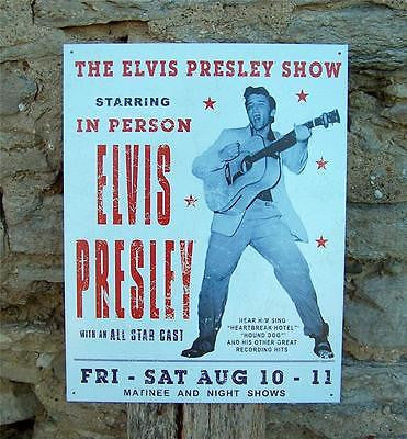 Antique Style Retro Elvis Presley Show Tin Sign Concert Ad Poster Gift USA 16""
