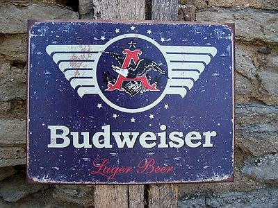 "Vintage Antique Style Budweiser Sign Retro Basement Garage Bar Decor Gift 16""x12"