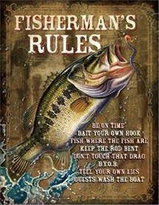 "Fishing Rules Tin Sign Retro Old Style Decor Fisherman Gift USA 16"" x 12"