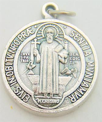 "St Benedict Two Sided Silver Plate Medal Protection Gift from Italy 1""L by MRT"