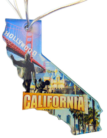 California Christmas Ornament Acrylic State Shaped Decoration Boxed Gift Made in The USA