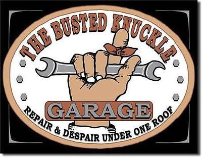 "Busted Knuckle Garage Auto Repair & Despair Retro Tin Sign Decor 16"" USA Gift"