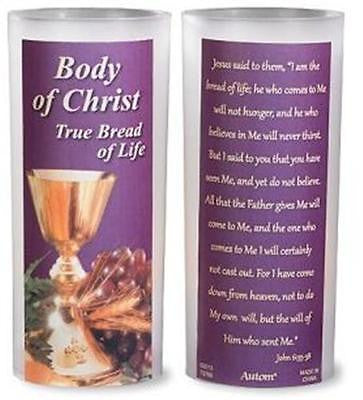 "Catholic Lent Body of Christ LED Candle Holy Week Home Decor Gift 4 1/4""H"