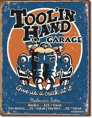 Tool In Hand Garage Funny Man Cave Retro Tin Sign Home Wall Decor Gift USA 16""