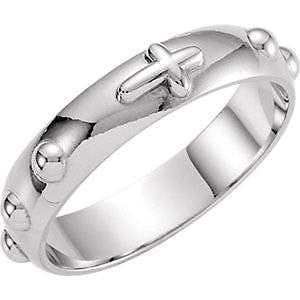 .925 Sterling Silver Rosary Ring Mens or Ladies Jewelry Gift Sizes from 4-12