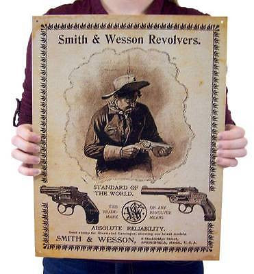 Smith & Wesson Revolvers Gun Types Retro Tin Guns Sign Old Style Home Decor USA