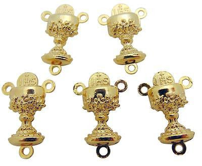 "Lot Of 5 Gold Tone Metal Chalice Communion Rosary Centerpiece 3/4""L from Italy"