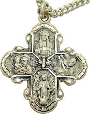 "MRT Sterling Silver Four Way Medal Cross 1 1/8"" w Stainless Steel Chain + Boxed"