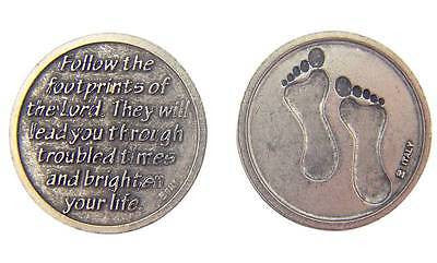 "1 Footprints Prayer Antique Finish Silver Plate Catholic Coin Medal 1"" Italy"