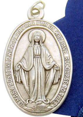 "MRT Our Lady of Grace Miraculous Medal 1 1/4"" Silver Tone Metal W Gift Bag Italy"