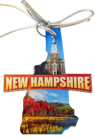 New Hampshire Christmas Ornament Acrylic State Shaped Decoration Boxed Gift Made in The USA