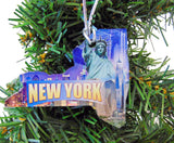 New York Christmas Ornament Acrylic State Shaped Decoration Boxed Gift Made in The USA